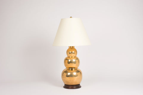 Single Large Three Ball Lamp in Gold Luster