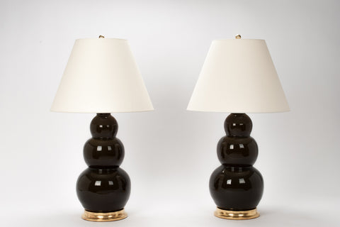 Pair of Large Three Ball Lamps in Olive