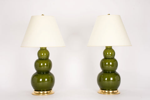 Pair of Large Three Ball Lamps in Spruce
