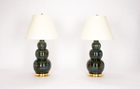 Pair of HT Large Three Ball Lamps in Alligator Green