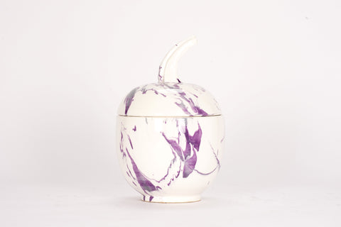 Lidded Gourd with Stem in Lilac Marble