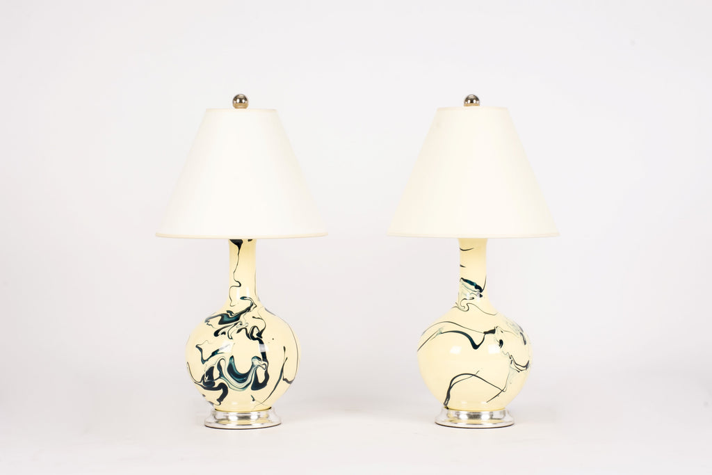Pair of Lindsay Lamps in Custom Marble