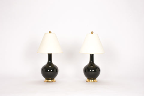 Pair of Lindsay Lamps in Jet Black