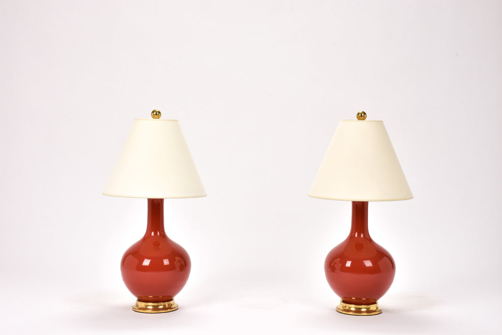 Pair of Lindsay Lamps in Raspberry