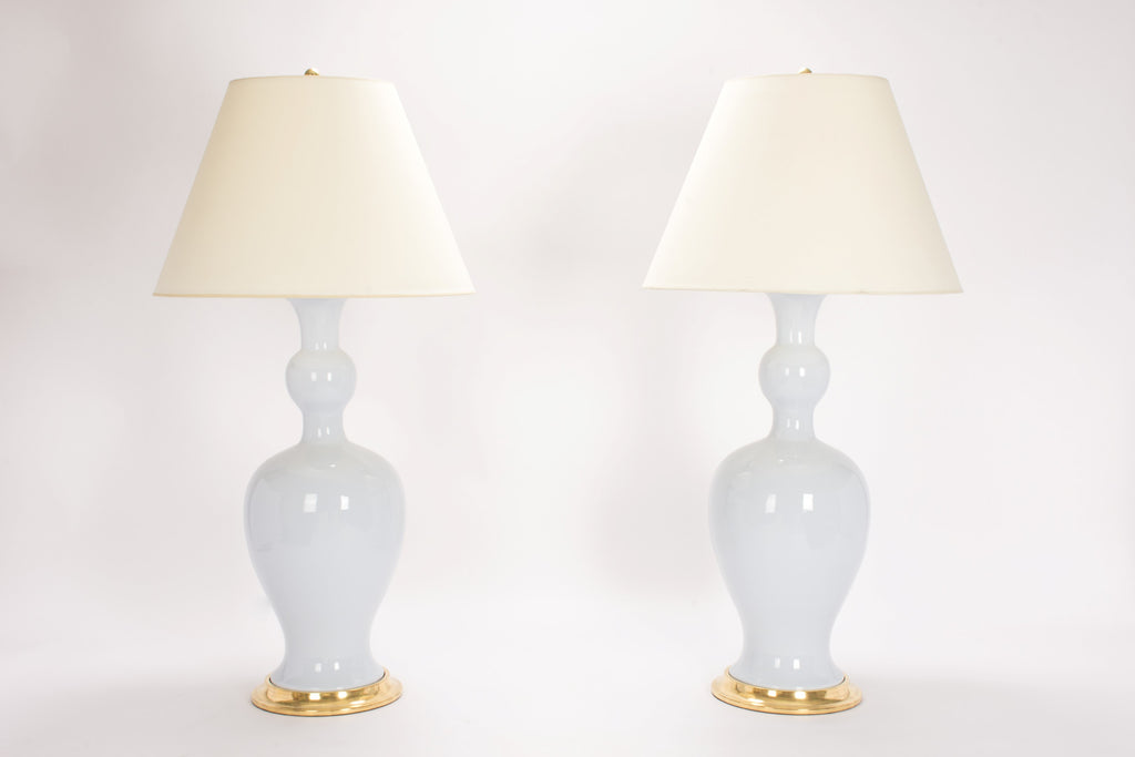 Pair of Marjorie Lamps in Hope Blue