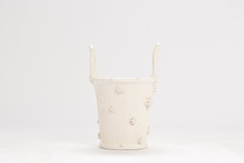 Faux Bois Cache Pot in Matte White