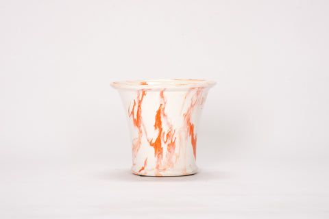 Medium Cache Pot in Orange Marble