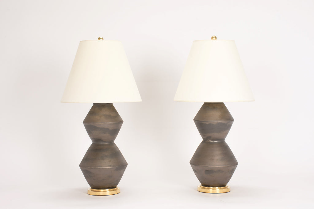 Pair of Medium David Lamps in Matte Bronze