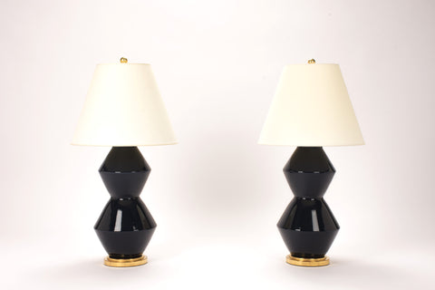 Pair of Medium David Lamps in Navy