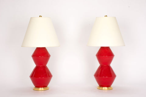 Pair of Medium David Lamps in Red