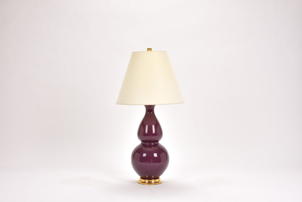 Single Medium Double Gourd Lamp in Aubergine