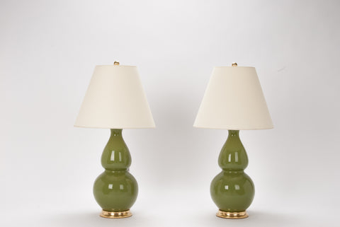 Pair of Medium Double Gourd Lamps in Avocado