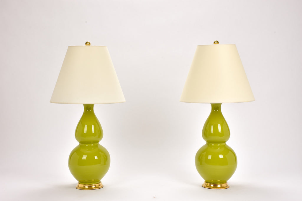 Pair of Medium Double Gourd Lamps in Chartreuse