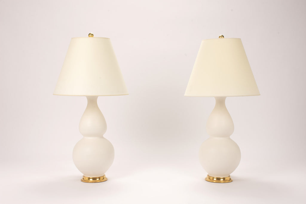 Pair of Medium Double Gourd Lamps in Matte White