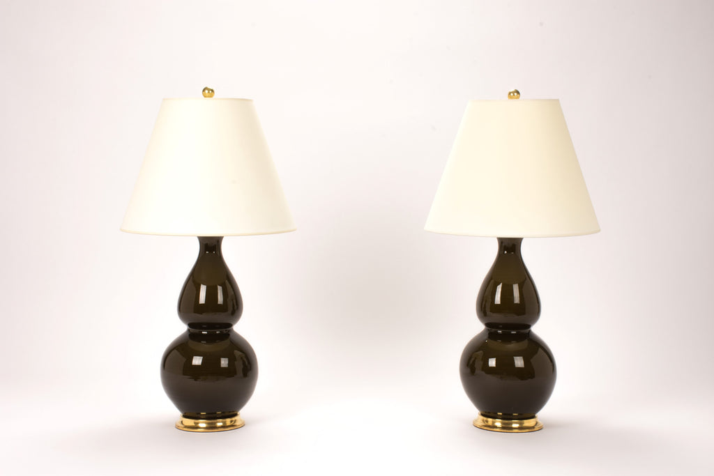 Pair of Medium Double Gourd Lamps in Olive