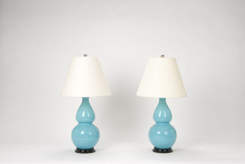 Pair of Medium Double Gourd Lamps in Robin's Egg