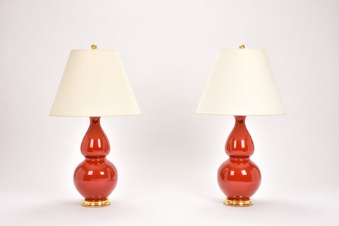 Pair of Medium Double Gourd Lamps in Scarlet