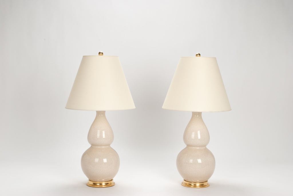Pair of Medium Double Gourd Lamps in Tea Stain Crackle