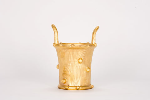 Medium Faux Bois Cache Pot in Gold Luster