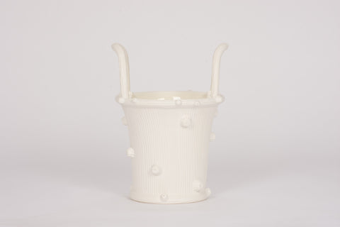 Medium Faux Bois Cache Pot in Matte White
