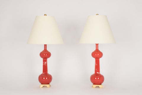 Pair of Medium Hadley Lamps in Custom Raspberry