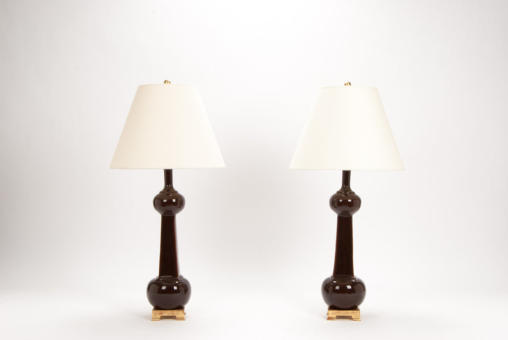 Pair of Medium Hadley Bottle Lamps in Espresso