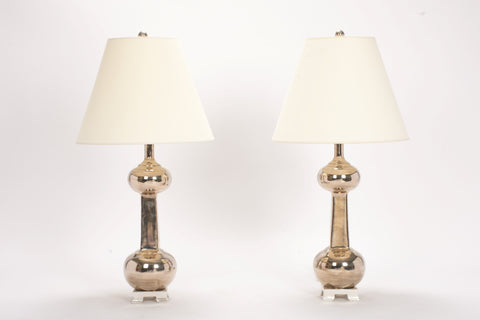 Pair of Medium Hadley Lamps in Platinum Luster
