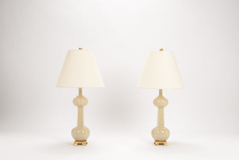 Pair of Medium Hadley Bottle Lamps in Sesame