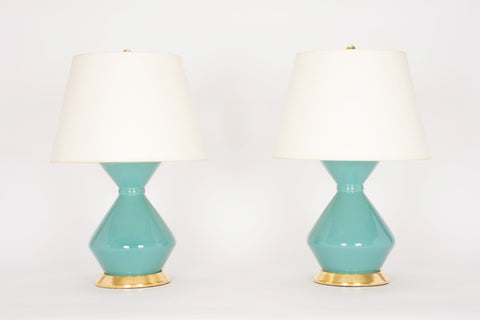 Pair of Medium Hager Lamps in Aqua