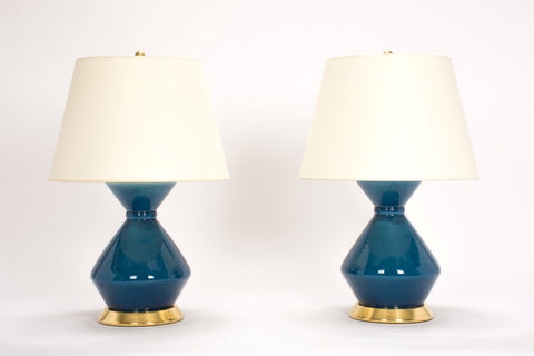 Pair of Medium Hager Lamps in Prussian Blue