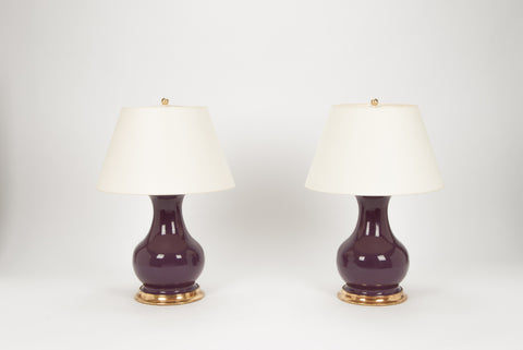 Pair of Medium Hann Lamps in Aubergine