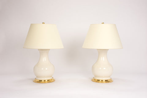 Pair of Medium Hann Lamps in Clear Crackle