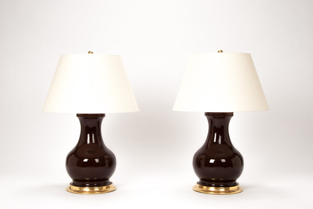 Pair of Medium Hann Lamps in Espresso