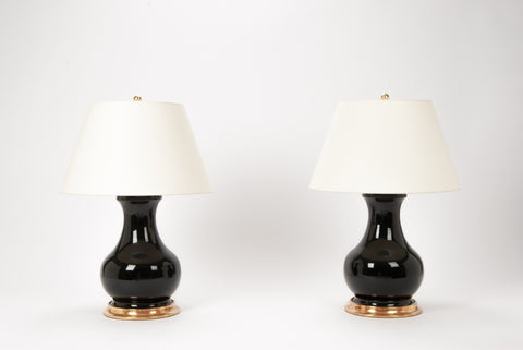 Pair of Medium Hann Lamps in Jet Black