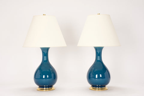 Pair of Medium Katie Lamps in Prussian Blue