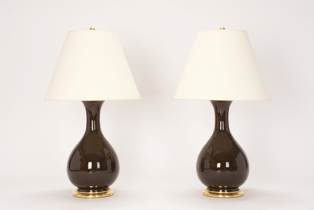 Pair of Medium Katie Lamps in Walnut