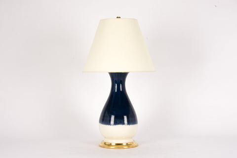 Single Medium Louisa Lamp in Blue Suede Ombre