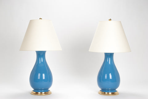 Pair of Medium Louisa Lamps in Cornflower Blue