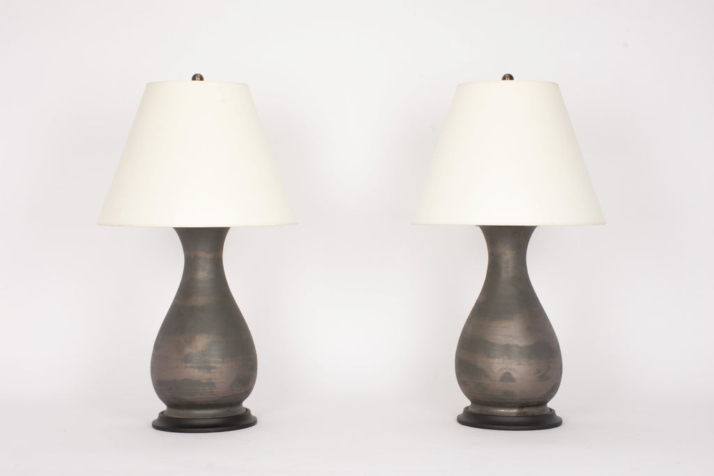 Pair of Medium Louisa Lamps in Matte Bronze