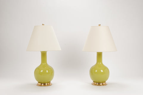 Pair of Medium Single Gourd Lamps in Apple Green