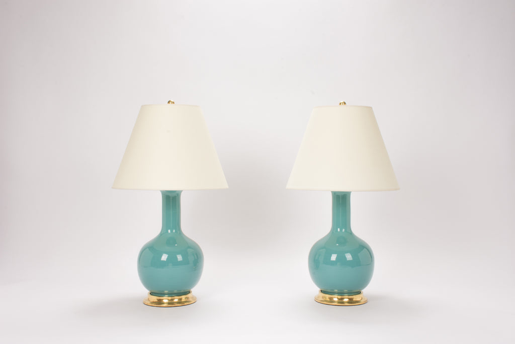 Pair of Medium Single Gourd Lamps in Aqua