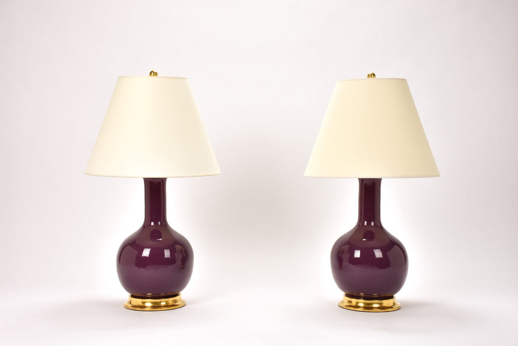 Pair of Medium Single Gourd Lamps in Aubergine