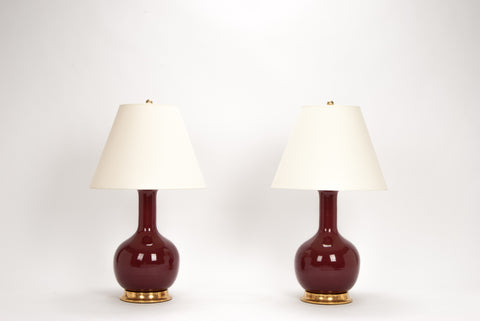 Pair of Medium Single Gourd Lamps in Claret