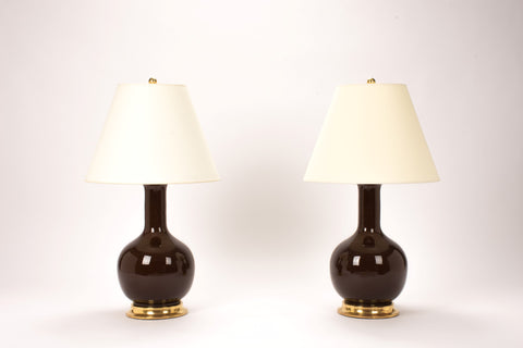 Pair of Medium Single Gourd Lamps in Espresso