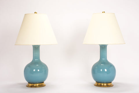 Pair of Medium Single Gourd Lamps in Hydrangea