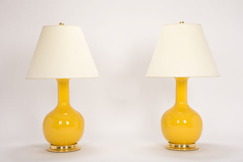 Pair of Medium Single Gourd Lamps in Marigold