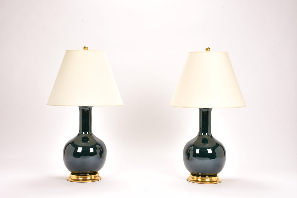 Pair of Medium Single Gourd Lamps in Peacock