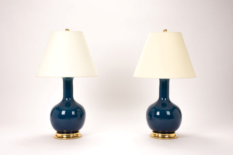 Pair of Medium Single Gourd Lamps in Prussian Blue