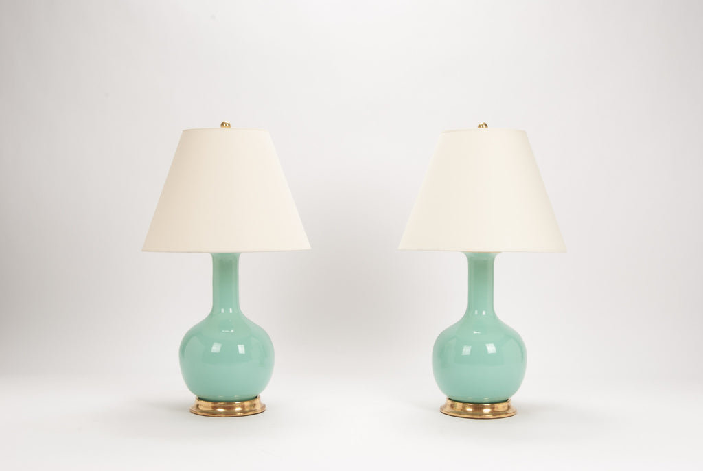 Pair of Medium Single Gourd Lamps in Pale Blue Green
