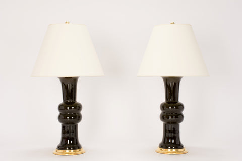 Pair of Medium Sophie Lamps in Olive